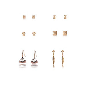Gold tone multiple design earrings pack