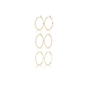 Gold tone hoop earrings pack