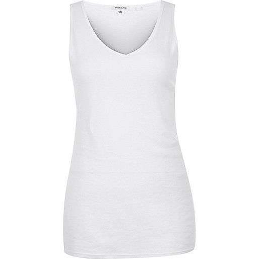 RI Plus white V-neck vest