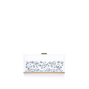 White embellished clip top purse