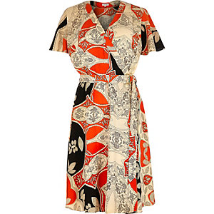 RI Plus red printed wrap tea dress