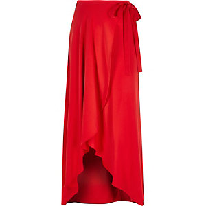 RI Plus red wrap maxi skirt