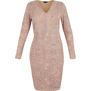 RI Plus beige glittery plunge bodycon dress
