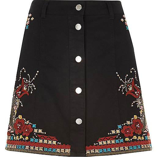 Black embellished festival skirt