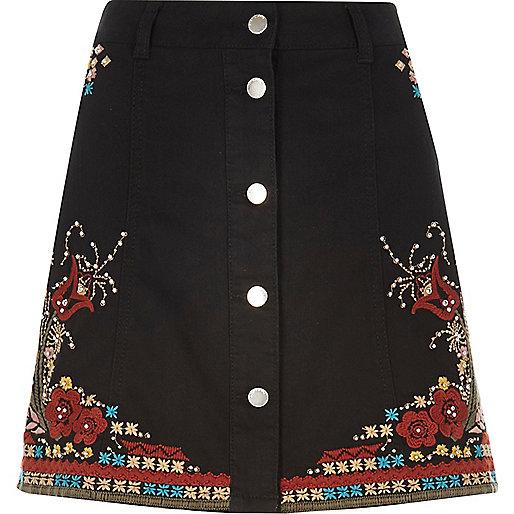 Black embellished festival skirt