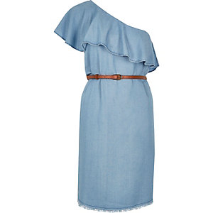 Light blue one shoulder dress
