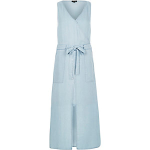 Light blue belted denim midi dress