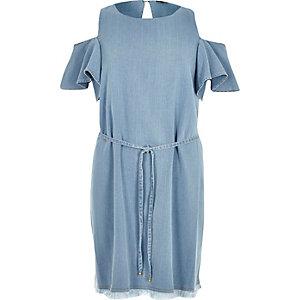 Light blue wash cold shoulder swing dress