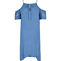 Blue cold shoulder swing dress