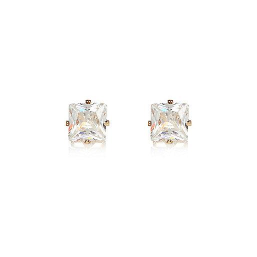 Gold tone square stud earrings
