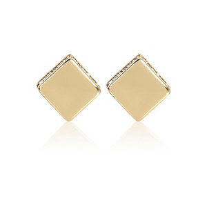 Gold tone diamanté diamond studs