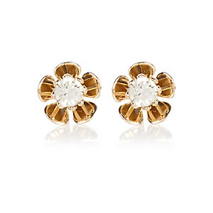 Gold tone flower stud earrings
