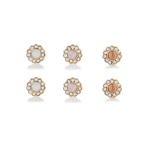 Gold tone flower earrings pack