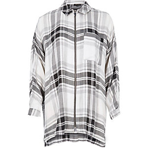 Black check zip front shirt