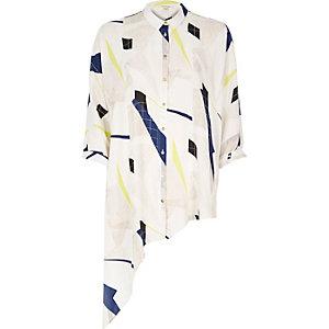 White geometric print asymmetric shirt