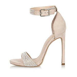 White encrusted two strap heels