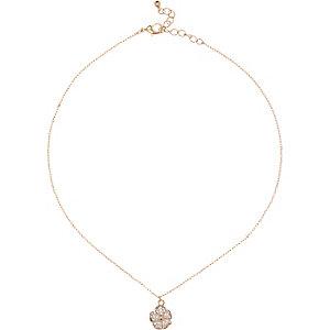 Gold tone daisy necklace