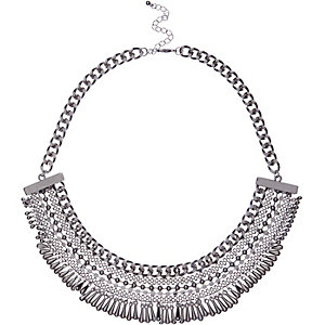 Silver tone bead bib necklace