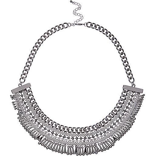 Silver tone bead bib necklace