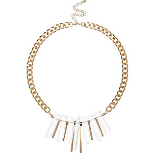 Gold tone shard statement necklace