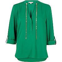 Green chain blouse