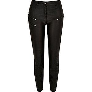 Black coated zip superskinny trousers