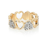 Gold tone heart ring