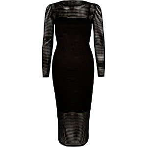 Black mesh bodycon midi dress