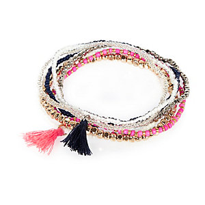 Pink tassel bracelet pack