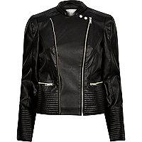 Black leather look quilted biker jacket