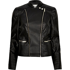 Black leather look quilted biker jacket