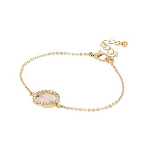 Gold tone pink quartz braclet