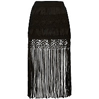 Black fringe midi skirt