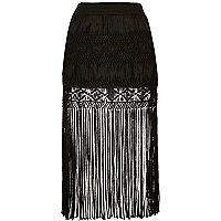 Black fringe midi skirt