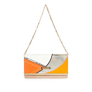 Orange patchwork clutch