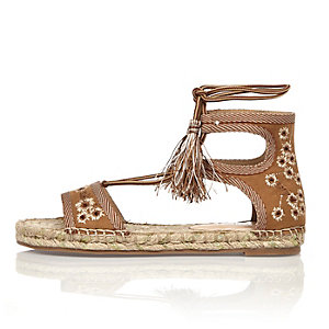 Light brown embroidered espadrille sandals