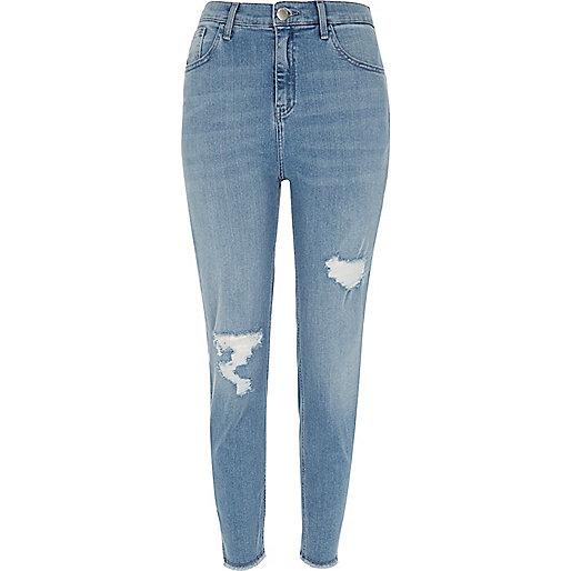 Jean skinny Lori délavage bleu moyen taille haute