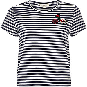 Navy stripe badge t-shirt
