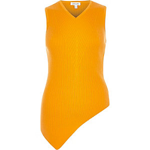 Bright orange knitted sleeveless top