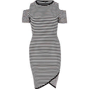 White stripe cold shoulder bodycon dress