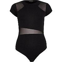 Black mesh panel bodysuit