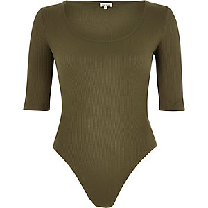 Khaki ribbed scoop neck bodysuit