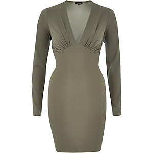 Khaki plunge neck bodycon mini dress
