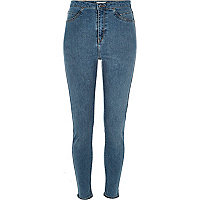 High Rise Party-Jeggings in mittelblauer Waschung