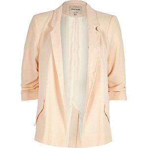 Light pink ruched sleeve blazer
