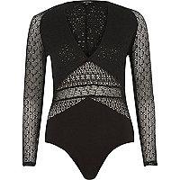 Black mesh plunging bodysuit