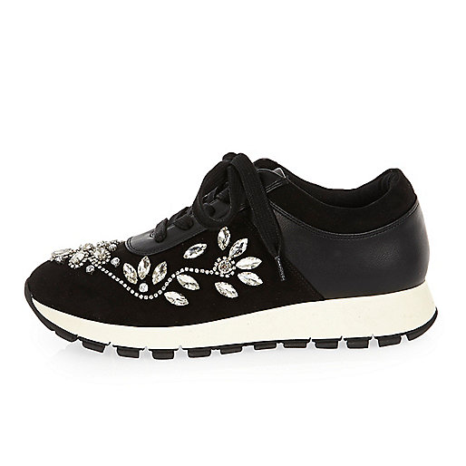 Black floral embellished trainers