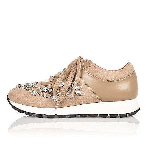 Nude floral embellished trainers