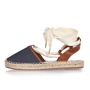 Denim tie-up espadrilles