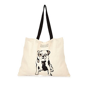 Cream puppy print tote handbag